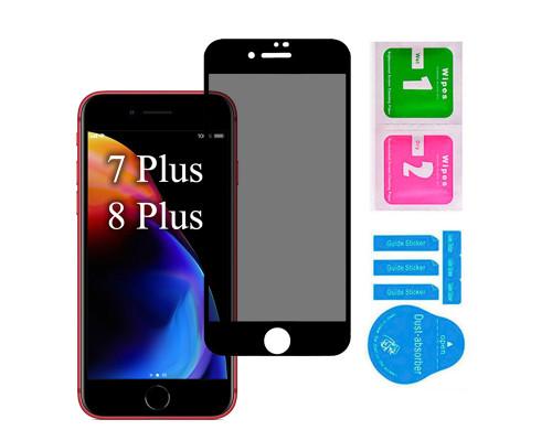 Защитное стекло для iPhone 7 Plus/ 8 Plus антишпион 5D полная проклейка черное с салфеткой и стиком