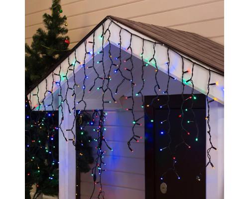 Гирлянда Бахрома уличная 70 ламп, 300х70 см, разноцветная, черный провод