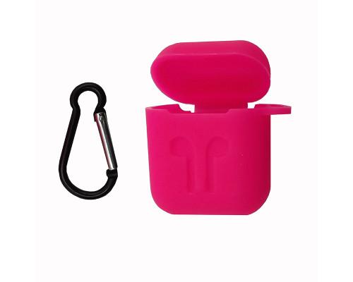 Чехол-кейс для Apple Airpods с карабином силиконовый, ярко-розовый