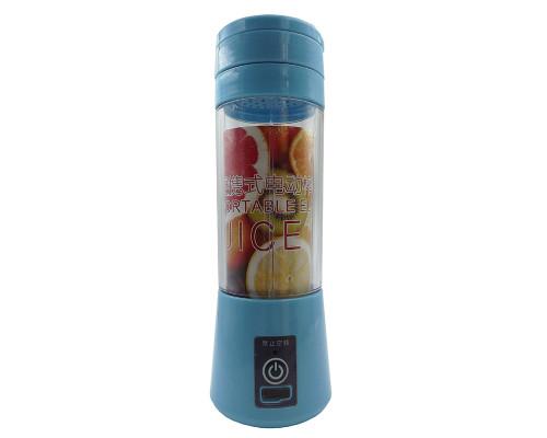 Портативный USB блендер Juice Blender для смузи, 4 лезвия, синий