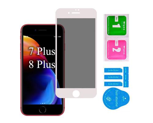 Защитное стекло для iPhone 7 Plus/ 8 Plus антишпион 5D полная проклейка белое с салфеткой и стикером