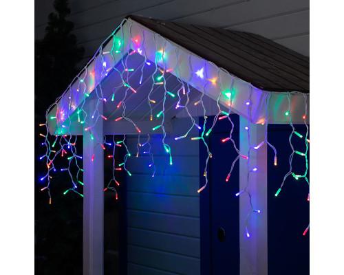 Гирлянда Бахрома уличная 70 ламп, 300х70 см, разноцветная, белый провод