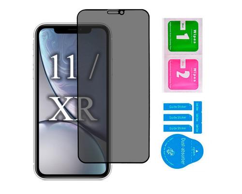 Защитное стекло для iPhone 11 / XR антишпион 5D полная проклейка черное с салфеткой и стикером