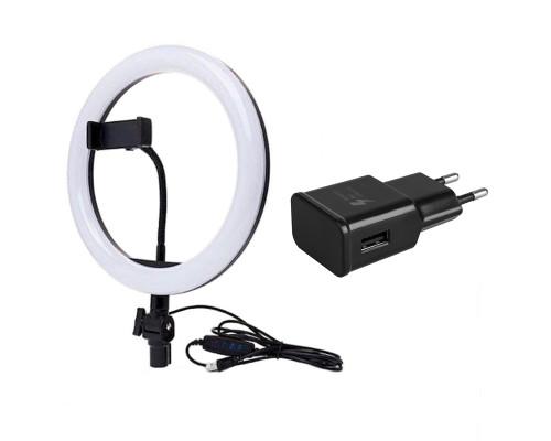 Кольцевая лампа M20 со встроенным шарниром, держателем для телефона, адаптером, диаметр 20 см