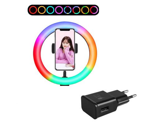 Кольцевая лампа RGB MJ20 с держателем для смартфона, 15 цветовых схем, адаптером, диаметр 20 см