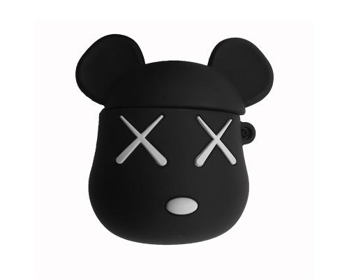 """Чехол-кейс для Apple Airpods """"Мышь"""" с карабином силиконовый, противоударный, черный"""