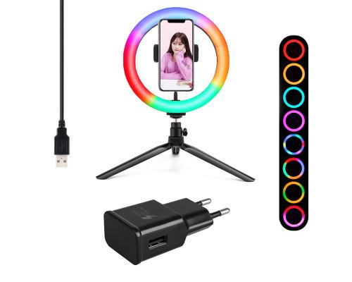 Кольцевая лампа RGB MJ20 с держателем смартфона, настольной треногой, шарниром, адаптером, 20 см