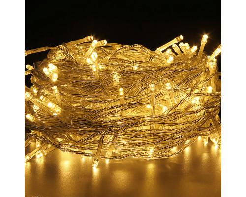 Гирлянда Нить 150 ламп, длина 14 м, желтый свет, белый провод