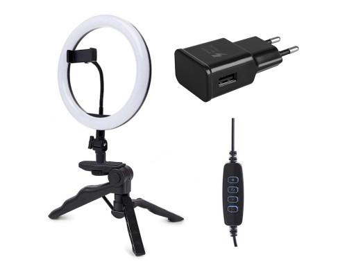Кольцевая лампа M20 со встроенным шарниром, треногой, держателем телефона, адаптером, диаметр 20 см