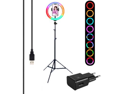 Кольцевая лампа RGB MJ20 LED с держателем для смартфона, шарниром, штативом, адаптером, диаметр 20см