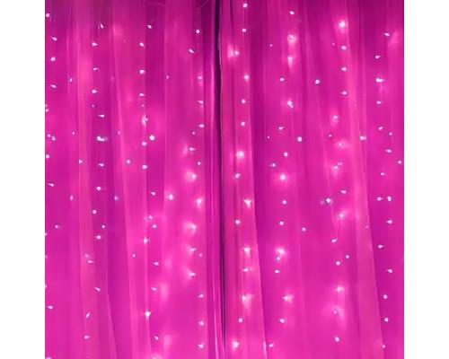 Гирлянда Занавес 110 ламп, длина 2 м, высота 2 м, розовый свет