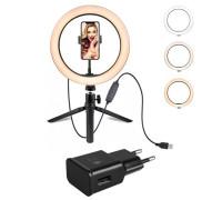Кольцевая лампа с держателем для смартфона и настольной треногой, адаптером, диаметр 26 см