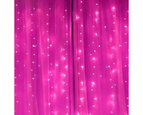 Гирлянда Занавес 300 ламп, длина 3 м, высота 3 м, розовый свет