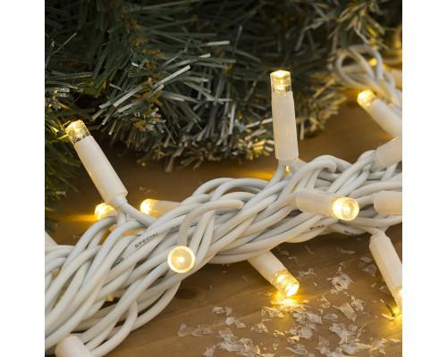 Гирлянда Нить уличная 70 ламп, 10 м, желтый свет с белыми вкраплениями, белый провод