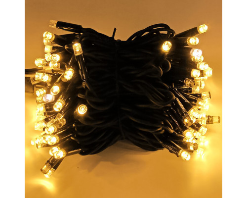 Гирлянда Нить уличная 70 ламп, 7 м, желтый свет с белыми вкраплениями, черный провод