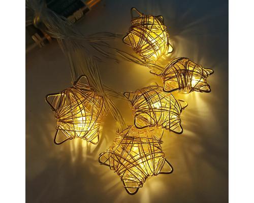 Электрогирлянда Нить 3.5 м, 20 ламп, металл, звезды плетеные, желтый свет