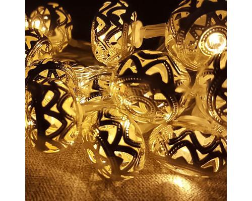 Электрогирлянда Нить 3.5 м, 20 ламп, металл, золотистые шары приплюснутые диаметром 3 см, желтый свет