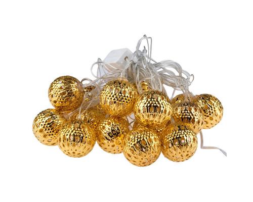 Электрогирлянда Нить 4 м, 20 ламп, металл, золотистые шары диаметром 3 см, желтый свет