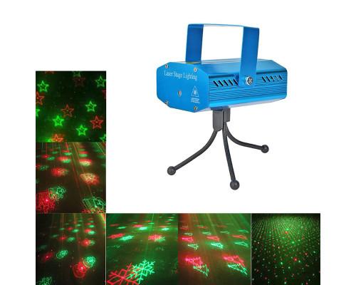Новогодний лазерный проектор Звездный Дождь для дома XX-621, 5 разных рисунков