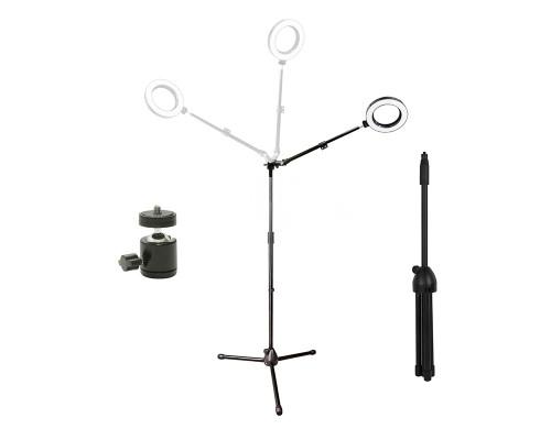 Кольцевая лампа ML-016 на угловом штативе-треноге с шарниром 3/8, диаметр 16 см