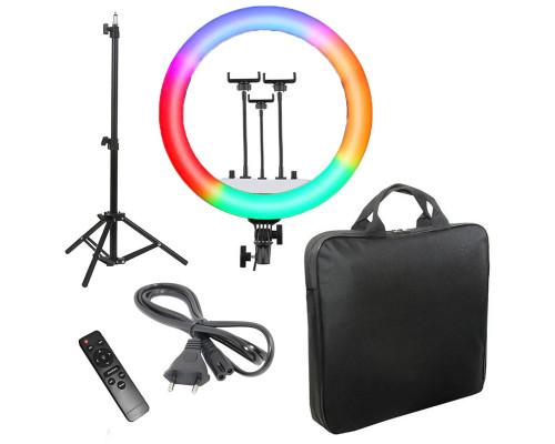 Кольцевая лампа RGB RL-14 с 3 держателями для смартфона, штативом, сумкой, диаметр 36 см