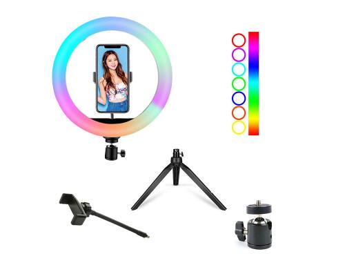 Кольцевая лампа RGB SL-R26 на настольной треноге с держателем для смартфона, диаметр 26 см