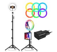Кольцевая лампа RGB LED MJ26 с держателем для смартфона, штативом, адаптером, диаметр 26 см