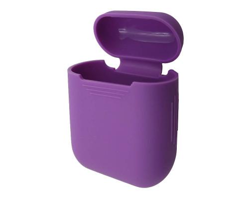 Чехол-кейс для Apple Airpods силиконовый, фиолетовый