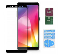 Защитное стекло для Samsung Galaxy A6 2018 (вид - 3D, черная рамка, в комплекте салфетка и стикер)