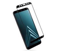 Защитное стекло для Samsung Galaxy A8 Plus (вид - 3D, черная рамка, комплектация эконом)