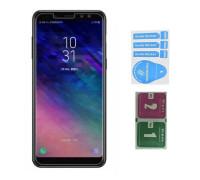 Защитное стекло для Samsung Galaxy A8 Plus (вид - 2.5D, в комплекте салфетка и стикер)