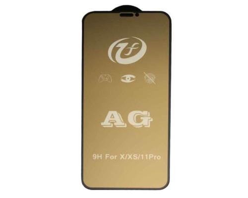 Защитное стекло для iPhone XS (вид — 3D, черная рамка, матовое, в комплекте салфетка и стикер)