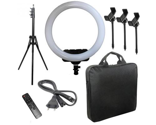 Кольцевая лампа RL-19 с пультом, тремя держателями для смартфона, усиленным штативом, сумкой, диаметр 45 см