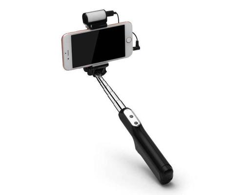Монопод для селфи A6 с подсветкой и зеркалом Bluetooth, черный