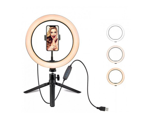 Кольцевая лампа SL-26X с держателем для смартфона, настольной треногой, шарниром, диаметр 26 см