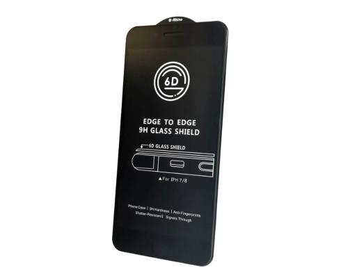 Защитное стекло OG для iPhone 8 (вид — 6D, черная рамка, в комплекте салфетка и стикер)