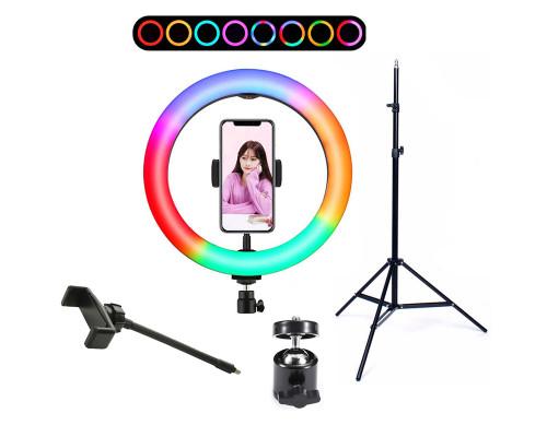 Кольцевая лампа RGB LED MJ33 32 см, с держателем для смартфона и штативом