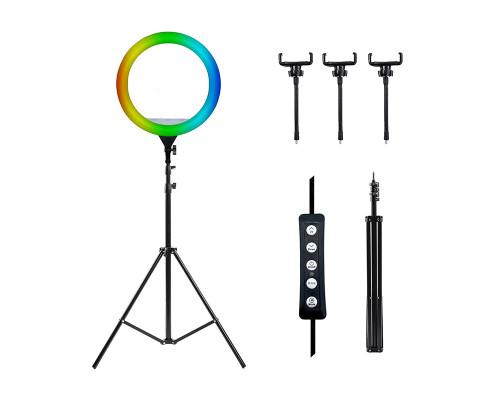 Светодиодная кольцевая лампа RGB CXB-460 со штативом, тремя держателями для телефона, диаметр 46 см