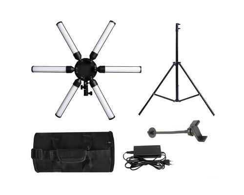 Кольцевая лампа звезда LED Professional для профессиональной фотосъемки со штативом, чехлом-сумкой, держателем телефона, диаметр 64 см