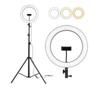 Кольцевая лампа для профессиональной съемки, селфи лампа плоская с держателем для смартфона и штативом, диаметр лампы - 36 см