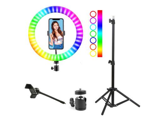 Цветная кольцевая лампа WH26 со штативом, с RGB режимами (мультиколор), диаметр 26 см