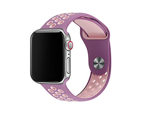 Ремешок для Apple Watch 42 - 44 мм с перфорацией фиолетовый с розовым