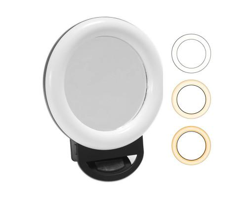 Селфи кольцо для телефона с зеркалом HR-20, диаметр 11 см, черное