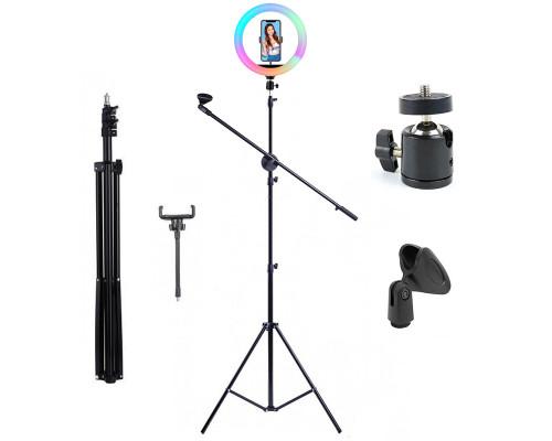 Кольцевая лампа RGB со штативом, журавлем, держателем для микрофона и телефона, диаметр 26 см