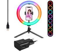 Кольцевая лампа RGB LED MJ26 с держателем смартфона на настольной треноге, адаптером, диаметр 26 см