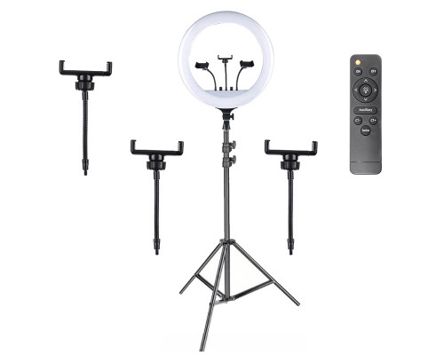 Кольцевая селфи лампа RL-18 M-45, 3 держателя для смартфона, пульт, штатив, диаметр 45 см