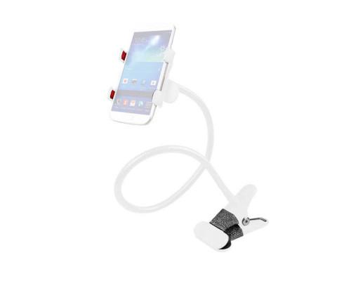 Гибкий держатель-прищепка для телефона с металлическим зажимом для стола, белый