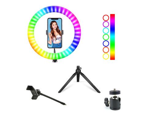 Цветная кольцевая лампа WH26 с настольной треногой, с RGB режимами (мультиколор), диаметр 26 см
