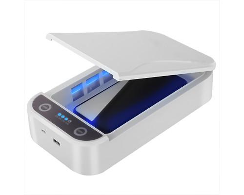 УФ бокс стерилизатор K1 с беспроводной Qi зарядкой для смартфона, 3 в 1, белый