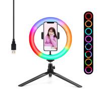 Кольцевая лампа RGB MJ20 с держателем для смартфона, настольной треногой, шарниром,  диаметр 20 см